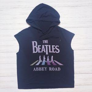 The Beatles Sleeveless Hoodie- Black, Medium